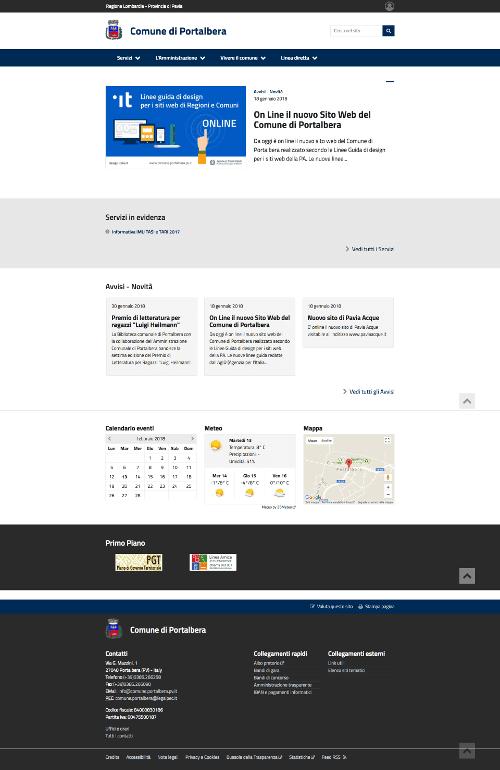 Realizzazione Sito Web Comune di Portalbera Pavia