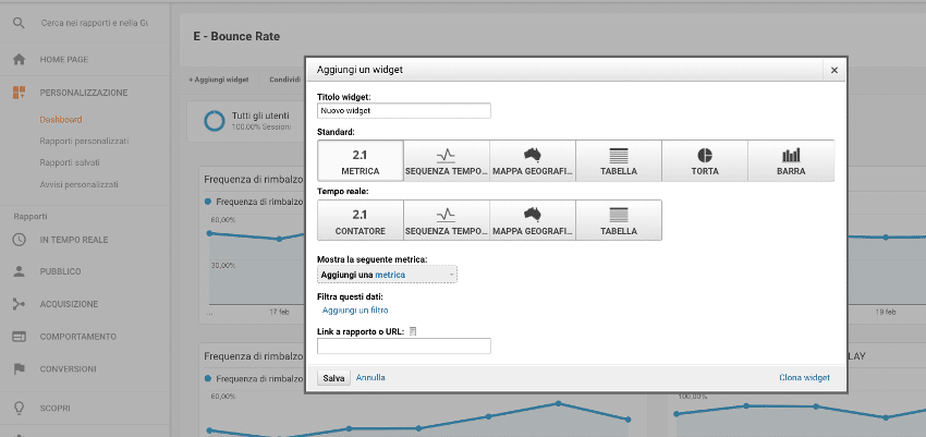 Aggiungere Widget Google Analytics