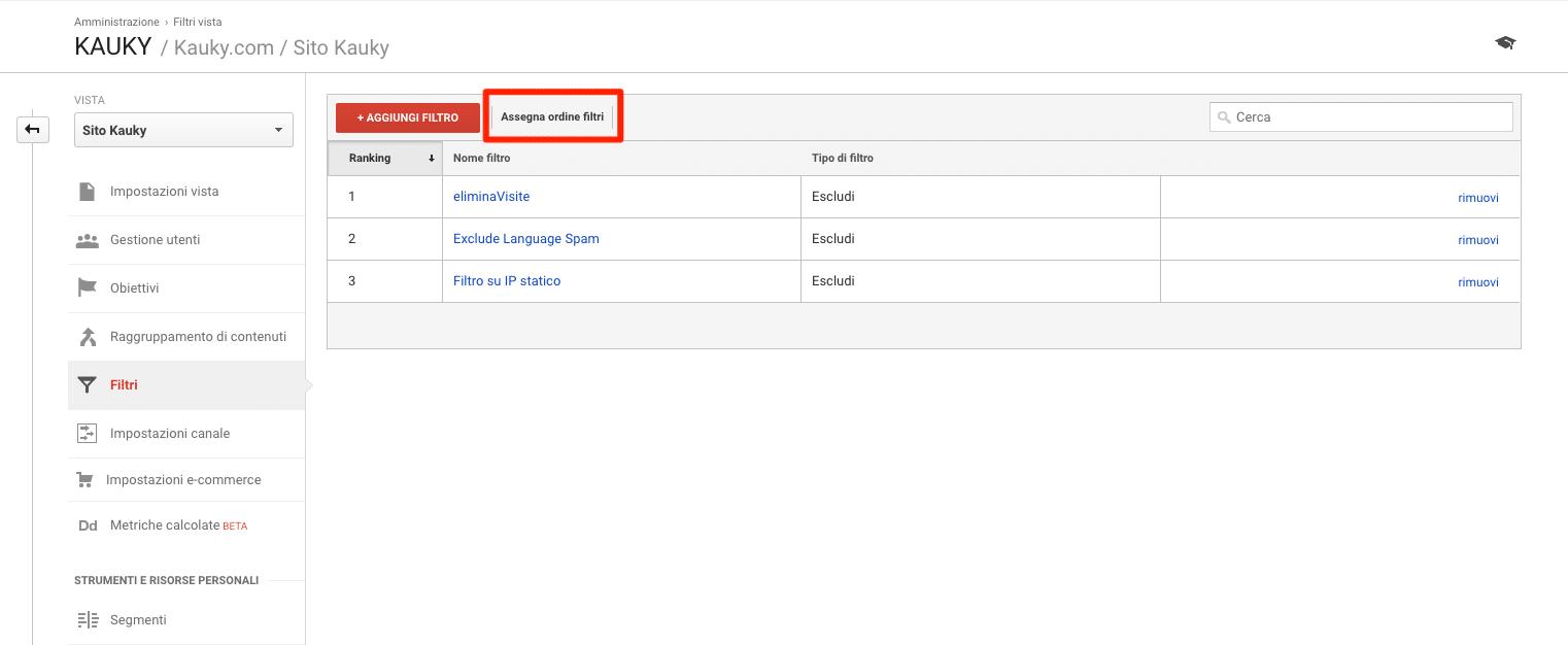 Assegnare ordine ai filtri Google Analytics
