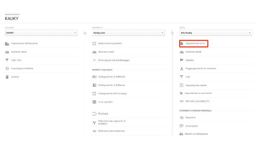Impostazioni Vista Google Analytics