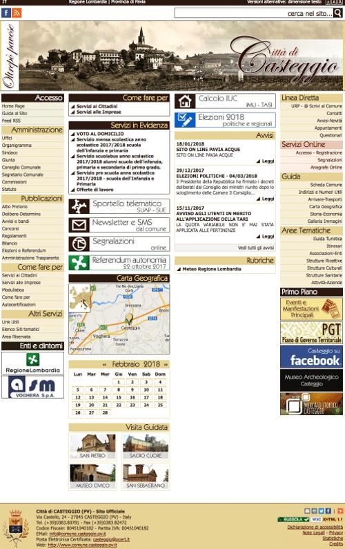 Realizzazione Sito Web Comune di Casteggio Pavia