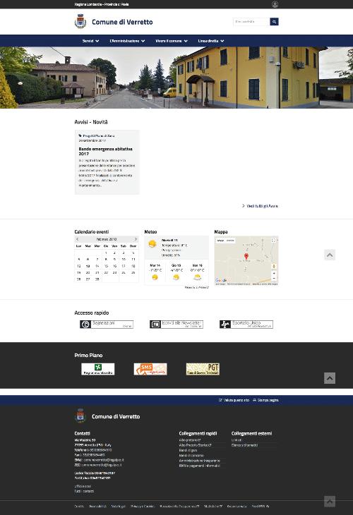 Realizzazione sito web Comune di Verretto Pavia