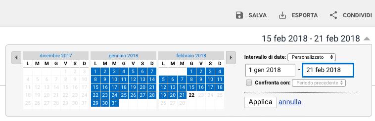 Selettore intervallo date Google Analytics